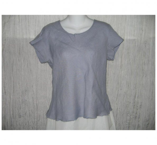 Solitaire Shapely Blue Bias Cut Linen Pullover Shirt Tunic Top Large L