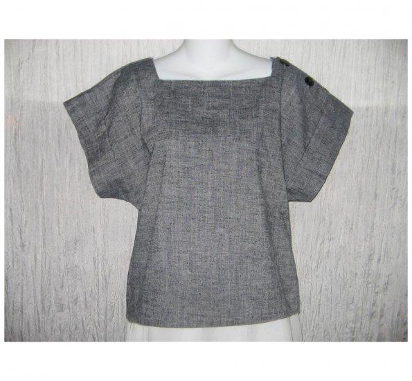 SJ Sport Boxy Gray Vintage Style Pullover Shirt Tunic Top Medium M