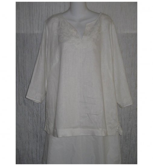 Long Embroidered White Linen Pullover Shirt Tunic Top X-Large XL