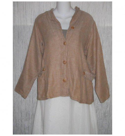 FLAX by Jeanne Engelhart Shapely Linen Button Jacket Petite P