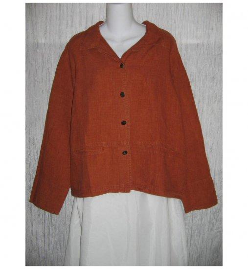 CHICO'S DESIGN Burnt Orange Linen Button Jacket Size 2 M L