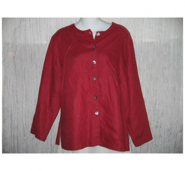 Lord & Taylor Long Raspberry Blush Linen Tunic Top Jacket Medium M