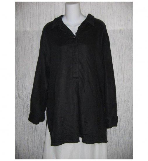J. Jill Black Linen Pullover Shirt Tunic Top Large L