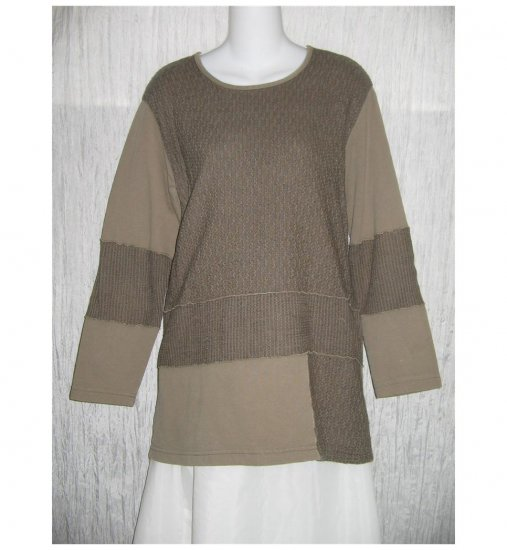 FOCUS Boutique Patchwork Cotton Knit Tunic Top Shirt Small S