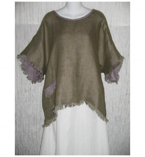 PAUL SISTI PS Boutique Linen Lagenlook Green Linen Pullover Shirt Tunic Top X-Large XL