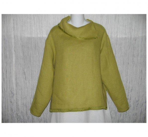 Barbara Balluffi Green Linen & Silk Lagenlook Pullover Shirt Tunic Top Medium M