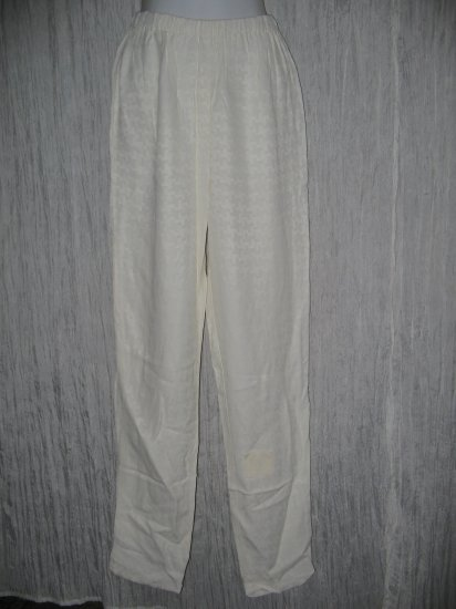 New JACKIE LOVES JOHN Cream Textured Silk Pants Small S