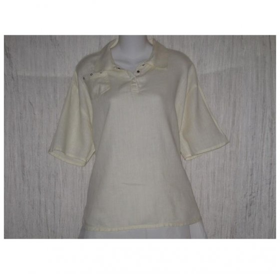Jeanne Engelhart FLAX Cream Linen Tunic Top Shirt Medium M