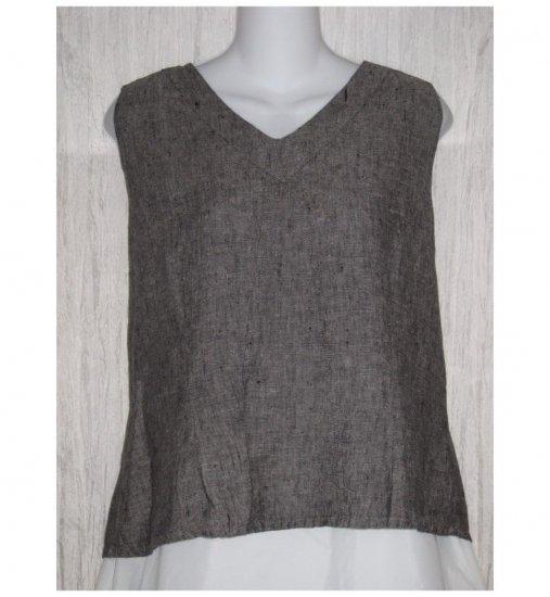 Jeanne Engelhart FLAX Gray Linen Tank Top Shirt Medium M