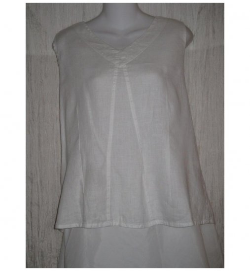 Jeanne Engelhart FLAX White Linen Tank Top Shirt Large L