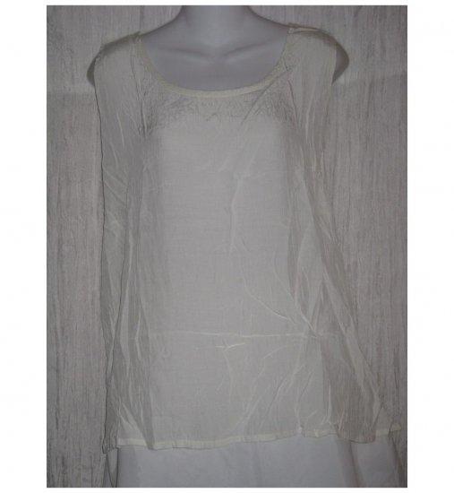 Jeanne Engelhart FLAX Cream Rayon Tank Top Shirt Large L