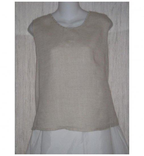 Jeanne Engelhart FLAX Natural Linen Tank Top Shirt Medium M