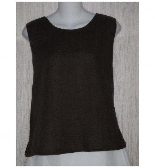 Jeanne Engelhart FLAX Brown Linen Tank Top Shirt Medium M