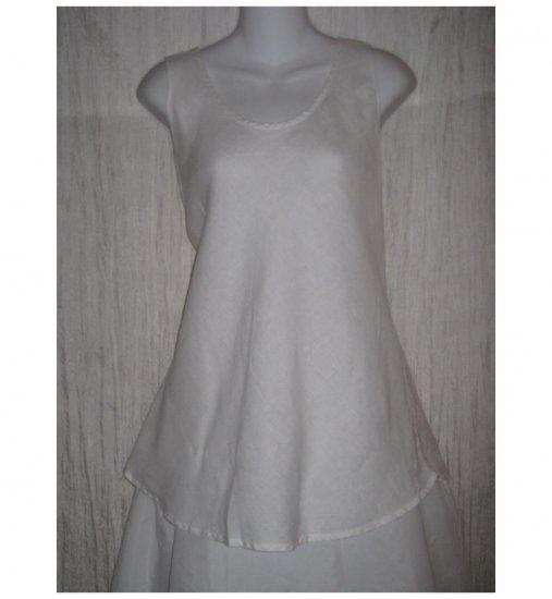 FLAX White Linen Bias Tank Top Tunic Shirt Jeanne Engelhart Medium M