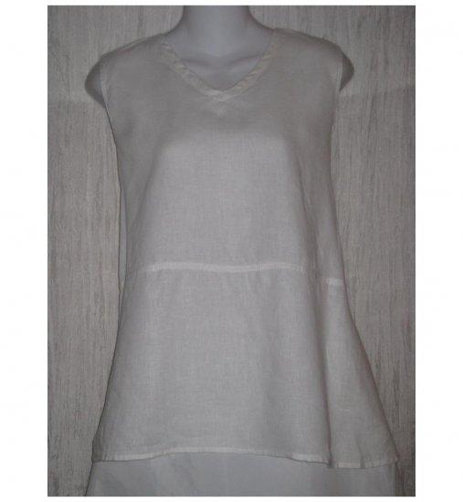 FLAX White Linen Tank Top Tunic Shirt Jeanne Engelhart Large L