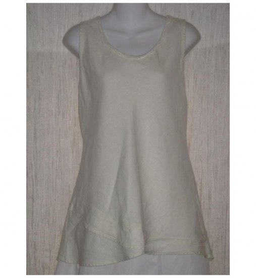 FLAX Cream Linen Bias Tank Top Tunic Shirt Jeanne Engelhart Medium M
