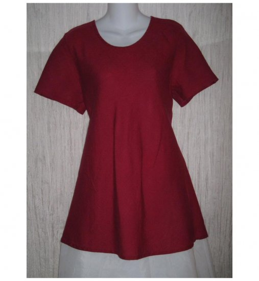 FLAX Red Linen Bias Top Tunic Shirt Jeanne Engelhart Medium M