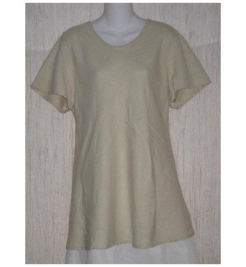 FLAX Beige Linen Bias Top Tunic Shirt Jeanne Engelhart Large L