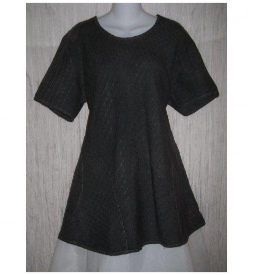 FLAX Blue Green Textured Linen Bias Tunic Top Shirt Jeanne Engelhart Medium M