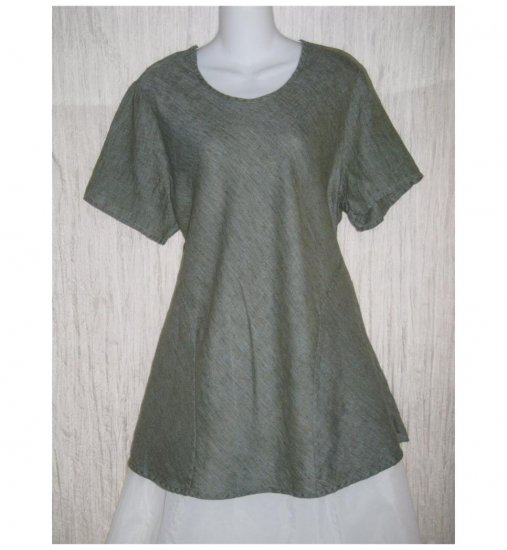 FLAX Blue Linen Bias Tunic Top Shirt Jeanne Engelhart Large L