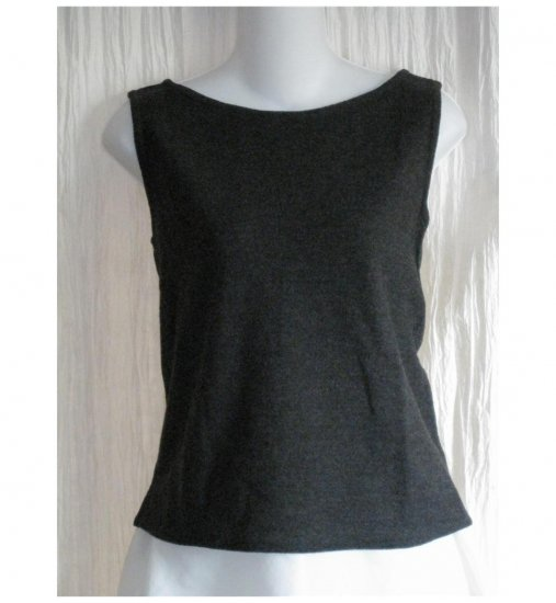 EILEEN FISHER Charcoal Gray Wool Tank Top Shell Shirt Small S