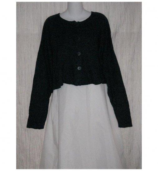 FLAX by Angelheart Cropped Blue Merino Wool Blend Cardigan Sweater Jeanne Engelhart M L