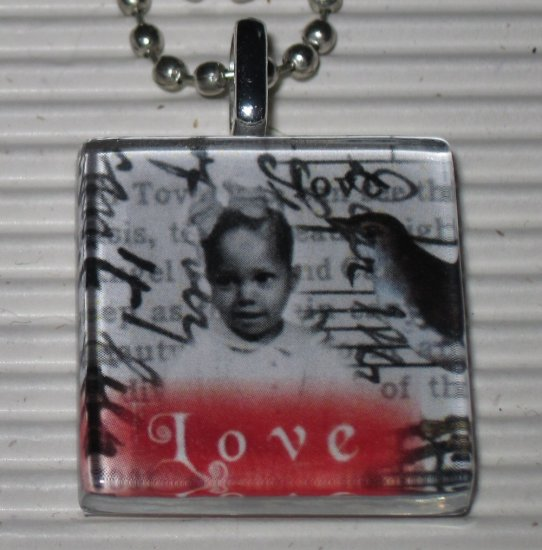 Altered Art to Wear Glass Necklace Love Bird Letters