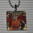 Glass Pendant Necklace Alphonse Mucha Princess Hyacinth