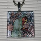 Altered Art Glass Tile Necklace Alphonse Mucha Winter