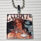 Altered Art Glass Necklace Alphonse Mucha Chocolate Ad