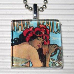 Altered Art Nouveau Necklace Alphonse Mucha Summer Ad