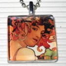 Art Glass Pendant Necklace Alphonse Mucha Goddess Fruit