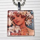 Altered Art Glass Tile Necklace Alphonse Mucha Goddess Flowers