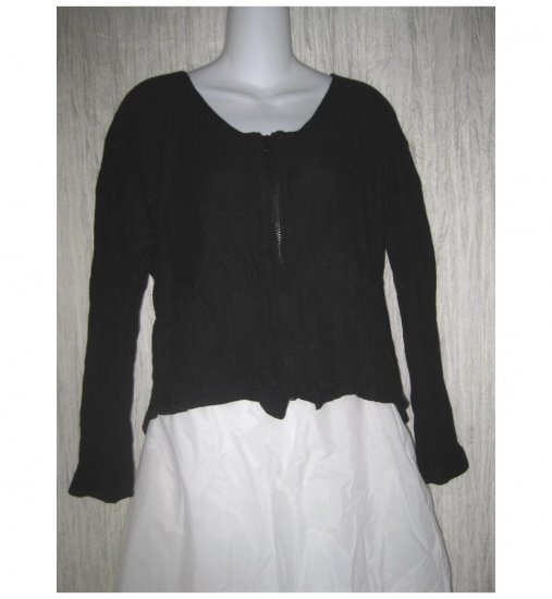 Neesh By D.A.R. Soft Black Angora Blend Zipper Cardigan Sweater M L