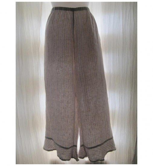Jeanne Engelhart FLAX Blue Striped Linen Bedskirt Bloomers Flood Pants Large L