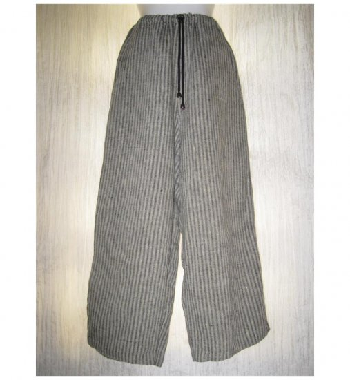 FLAX Blue Gray Striped Linen Floods Pants Jeanne Engelhart Small S
