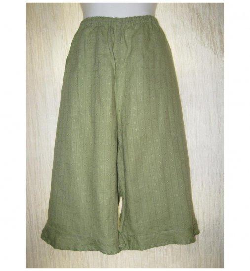 Jeanne Engelhart FLAX Textured Green Linen Short Bed Skirt Bloomers Pants Medium M