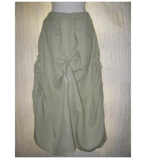 FLAX Long & Full Green LINEN Ruched Skirt Jeanne Engelhart Small S