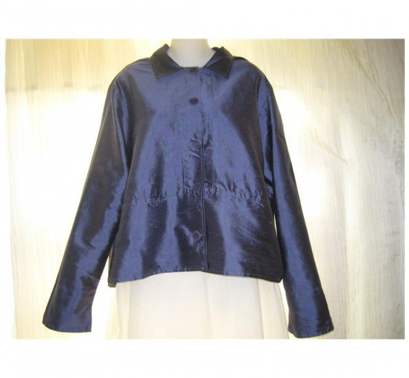 FLAX Blue Silk Skirted Button Shirt Tunic Top Jacket Small S