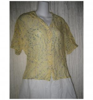 FLAX by Jeanne Engelhart Shapely Yellow Floral Rayon Button Top Shirt Medium M