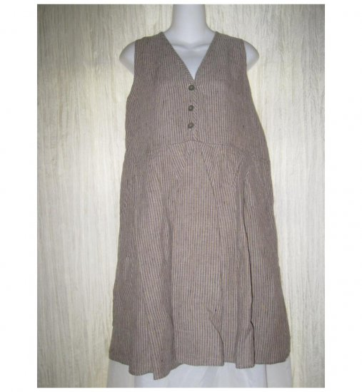 FLAXseeds by Angelheart FLAX Striped LINEN Slip Dress Large L