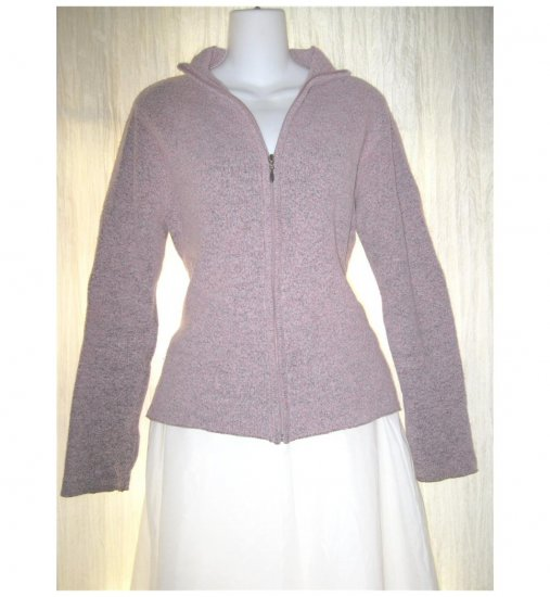 Soft Pink Zip Nubby Knit Cardigan Sweater Small Medium S M