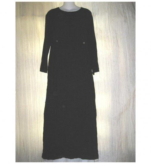BARBARA BALLUFFI Long Black Crisscrossing Pin Tuck Dress Small S