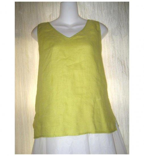 Dana Buchman Yellow Green Linen Tank Top Shirt 8