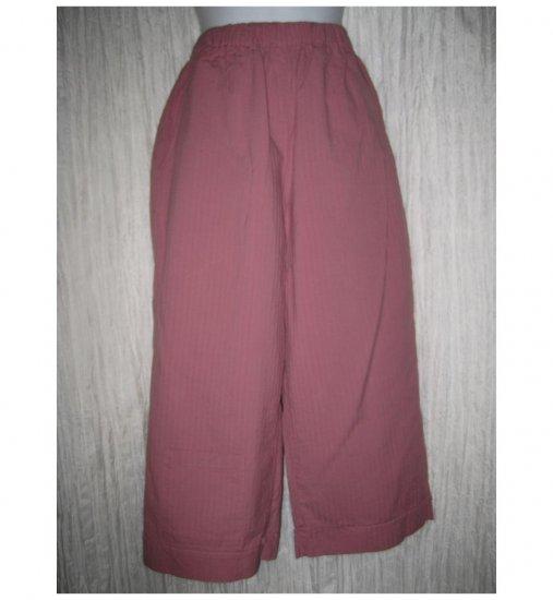 FLAX Dusty Pink Textured Cotton Floods Pants Jeanne Engelhart Petite P
