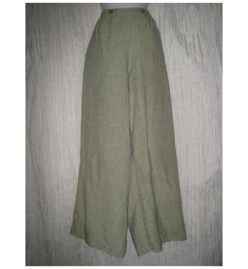 FLAX by Jeanne Engelhart Green LINEN Sailoring Pants Wide Leg Floods Large L