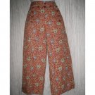 FLAX Orange Floral LINEN Sailor Pants Wide Leg Floods Small S
