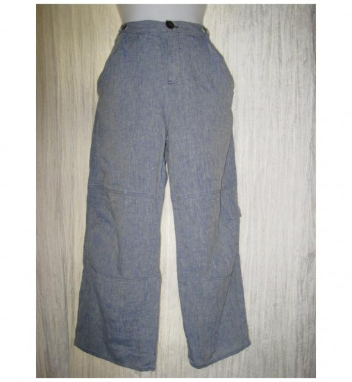 Solitaire Blue Linen Trousers Pants X-Small XS