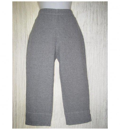 Jeanne Engelhart FLAX Gray Cotton Pedal Pushers Leggings Pants Small S