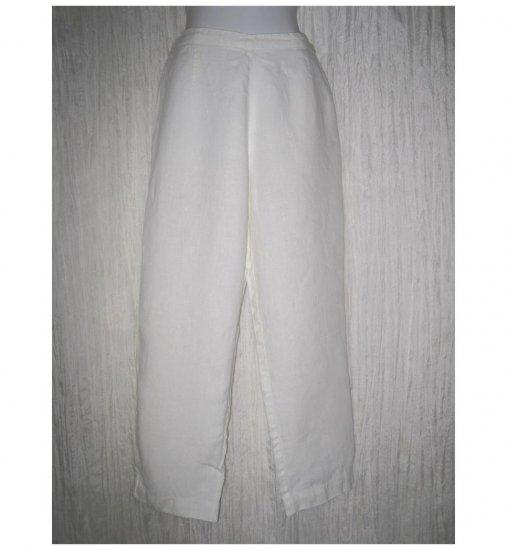 Jeanne Engelhart FLAX Long White LINEN Pants Small S